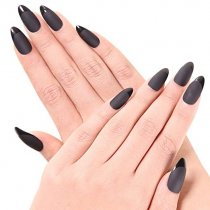Ejiubas 24 Pcs Black Matte with Glossy Finish Full Cover Talone Medium False Nail Tips