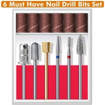 Nail Drill Bits for Acrylic Nails - Carbide Nail Drill Bits Set BTArtbox 6Pcs Tungsten Efile Nail Drill Bits for Acrylic Gel Nails Cuticle Manicure Pedicure