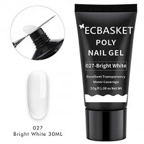 ECBASKET Poly Nail Gel Bright White 30ML 1.014oz Nail Builder Gel Poly Nail Extension Gel Nail Thickening Enhancement Tool
