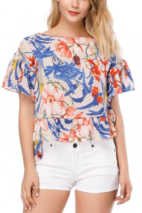 Floral Tops High-Low Tshirt