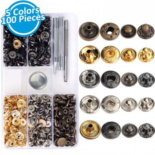 100 Sets Snap Fasteners Kit