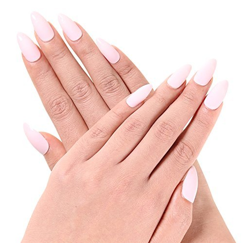 Ejiubas Newest Arrival 24 Pcs Flesh Color Matte with glossy Finish Full Cover Talone Medium False Nail Tips (Ice cream pink)