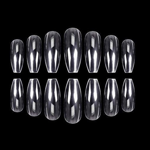 500Pcs Coffin Nails Clear Nail Tips Full Cover Artificial Nails 10 Sizes
