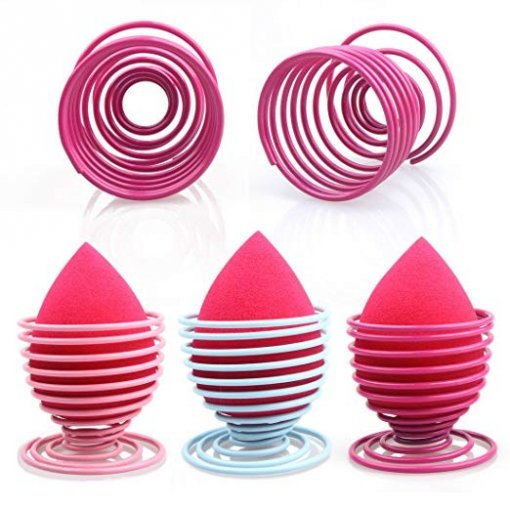 Makeup Sponge Holder 3 Pack Stainless Beauty Blender Holder (Pink&Rose&Sky Blue)