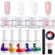 Ejiubas Dipping Powder Starter Kit Dip Powder Colors 4 Pcs Acrylic Dipping System Acrylic Pigment Powder for French Nail Manicure Nail Art Set