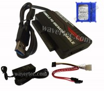 Wavertec 1M 2.5 3.5 IDE SATA to USB 3.0 HDD Case OTB Molex Power Adapter Cable US Plug