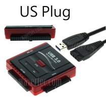 Wavertec 43 40 Pin IDE SATA to USB 3.0 Adapter Cable with Power OTB US Plug