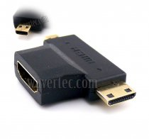 Wavertec 2in1 Mini HDMI & Micro HDMI Male to HDMI Female Converter Connector
