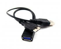 Wavertec OTG Host Y Cable Micro USB 3.0 to USB3.0 Female + USB Power for Galaxy S5 Note 3