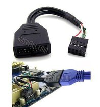 Wavertec Motherboard USB 2.0 to 3.0 Adapter 9 Pin Female 20 Pin Male Cable