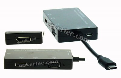 Wavertec 3 Multi Screen USB C to DP VGA HDMI Audio Adapter Cable Thunderbolt