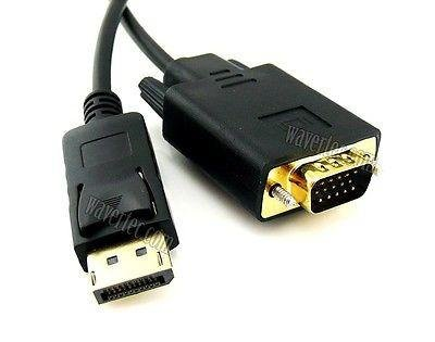 Wavertec 6Ft 1.8M 20 Pin Displayport DP Male to VGA Male Long Adapter Cable Converter OEM