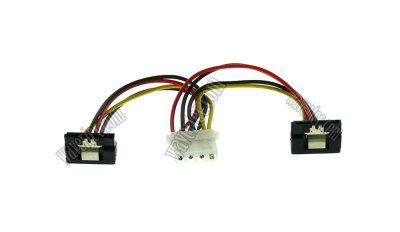 Wavertec 4 pin Molex to SATA Power Cable Adapter Right Angle 1:2 Splitter
