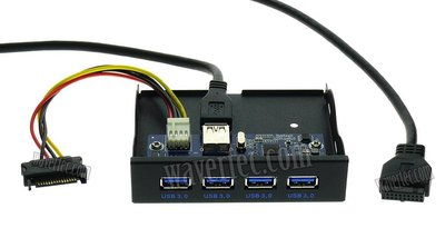 Wavertec 3.5 inch Internal Front Panel 4 Port USB 3.0 Hub Floppy Disk Replacement