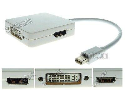 Wavertec 3 in 1 Mini DisplayPort to DisplayPort HDMI DVI Adapter MacBook