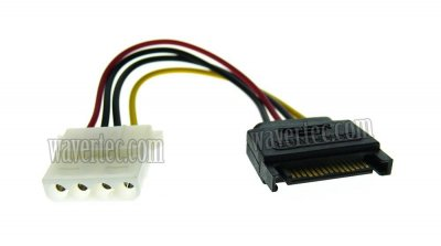 Wavertec 4 Pin Molex to SATA Power Adapter 15 Pin SATA Male Molex Female