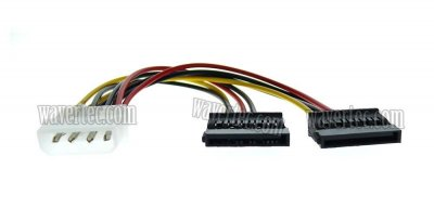 Wavertec 15 Pin SATA to Molex Power Splitter Adapter Cable SATA HDD Power