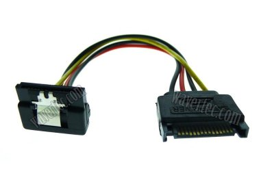 Wavertec Right Angle 15 Pin SATA Power Extension Cable Male to Female with Clip