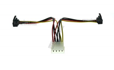 Wavertec 4 Pin Molex Male to Right Angle 15 Pin SATA Female Splitter Cable