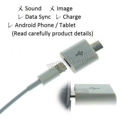 Wavertec iPhone Lightning 8 Pin to Micro USB Adapter Lightning Female