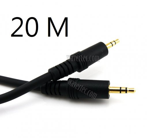 Wavertec 65Ft 20M 3.5mm Audio AUX Jack Male to Male Long Extension Cable