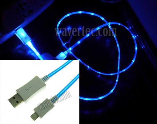 Wavertec Blue 3Ft 1M Illuminating LED Apple 8 Pin Lightning Data Sync Charge Cable to USB Male Apple iPhone 6S Plus 6 SE iPad Air 2 Mini iPod Touch iPod Nano OEM