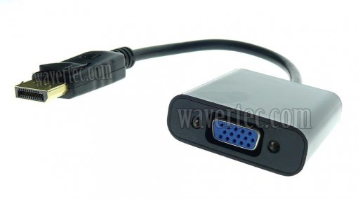 Wavertec DP DisplayPort Male to VGA Female Short Adapter Cable OEM