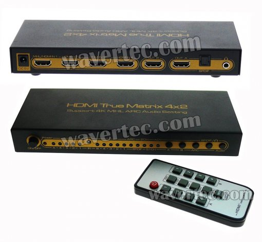 Wavertec 4x2 Matrix HDMI 1.4 Splitter & Switch 4 in 2 out 4K 3D UK Plug Remote Control HDCP Multi Screen Source 1080P Dolby LPCM 7.1 CH Metallic Case LED Female to Female HDMI Hub Extender Connector Switch OEM