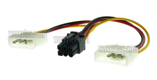 Wavertec 2 Molex to 6 Pin PCI E Adapter Cable 6 Pin Female to 2 x 4 Pin Male Computer Power Cord Splitter