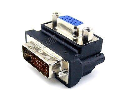 Wavertec Right Angle D-Sub SVGA VGA Female to 24+5 DVI-I Dual Link Male Adapter Converter