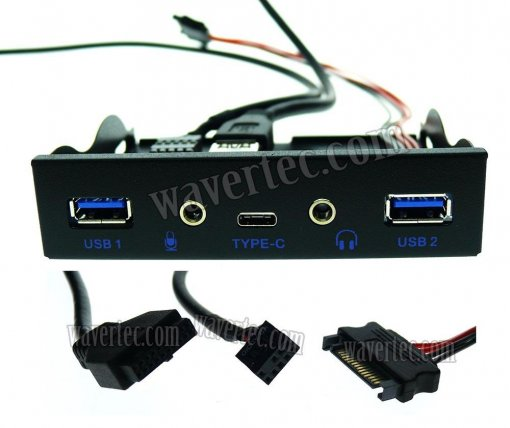 Wavertec 3.5 Front Panel USB 3.1 Type C Audio 2 USB Port Hub 20 Pin Header