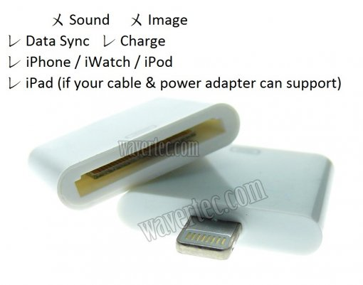 Wavertec Old iPhone to New iPhone Adapter 30 Pin Female to Lightning Male 8 Pin