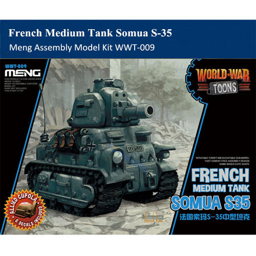 Meng WWT-009 French Medium Tank Somua S-35 Q Edition Plastic Assembly Model Kit
