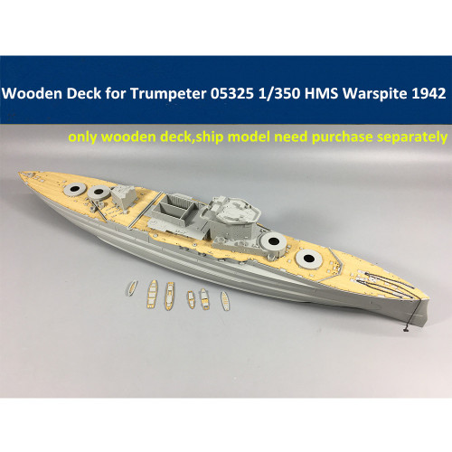 Wooden Deck for Trumpeter 05325 1/350 Scale HMS Warspite 1942 Battleship Model CY350025