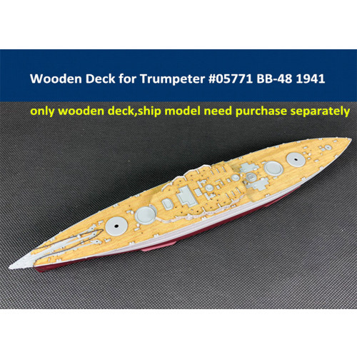 Wooden Deck for Trumpeter 05771 1/700 Scale USS West Virginia BB-48 1941 Model CY700024
