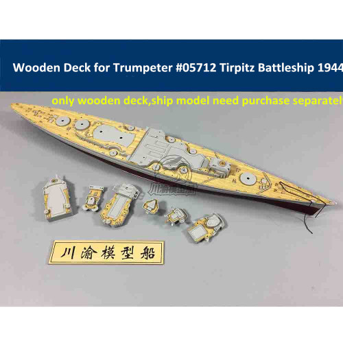 Wooden Deck for Trumpeter 05712 1/700 Scale Germany Tirpitz Battleship 1944 Model CY700011