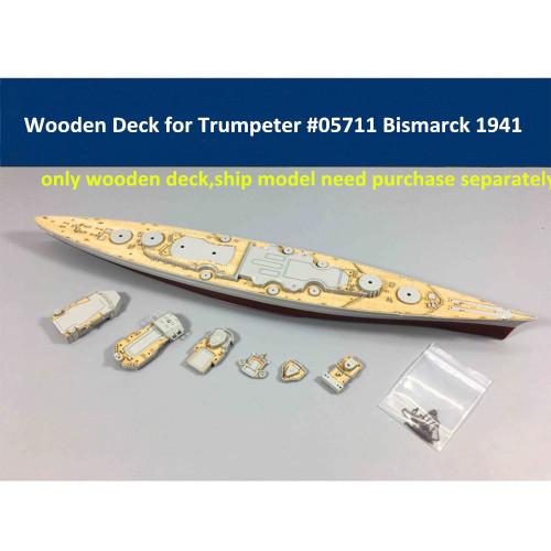 Wooden Deck for Trumpeter 05711 1/700 Scale Germany Bismarck Battleship 1941 Model CY700004