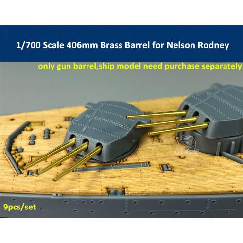 1/700 Scale 406mm Brass Barrel for Rodney Tamiya 77502 Meng ps-001 Nelson 77504 Trumpeter 06717 Model CYG017(9pcs/set)