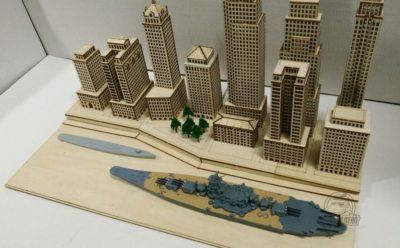 1/700 Scale New York Port Dock Scene DIY Wooden Assembly Model Kit CY701