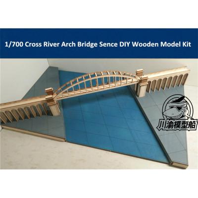 1/700 Cross River Arch Bridge Sence Diorama Platform DIY Wooden Assembly Model Kit CY709