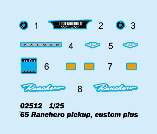 Trumpeter 02512 1/25 Scale '65 Ranchero Pickup Custom Plus Plastic Assembly Model Kits