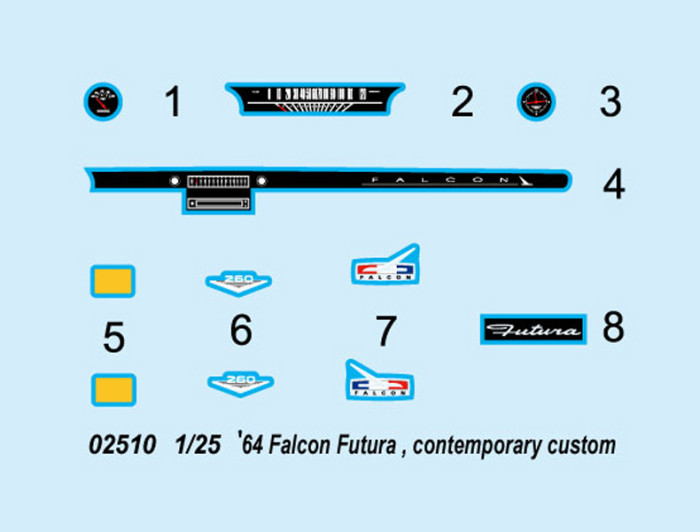 Trumpeter 02510 1/25 Scale '64 Falcon Futura Contemporary Custom Plastic Assembly Model Kit