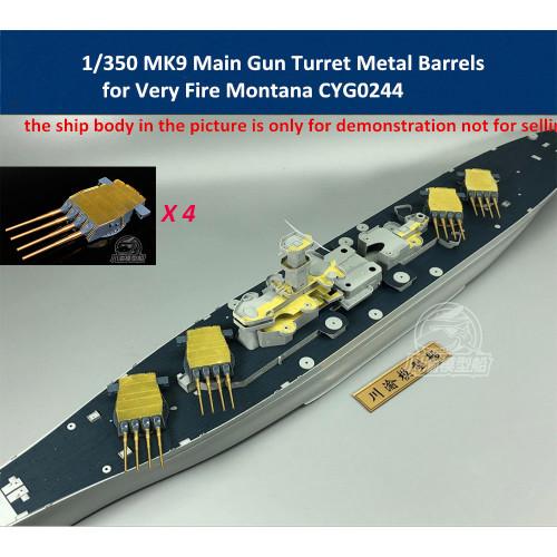 1/350 Scale MK9 Main Gun Turret Metal Barrels for Very Fire Missouri Montana Ship Model CYG024