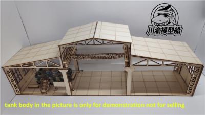 1/72 Scale Tank Factory Garage Repair Shop Scene DIY Wooden Assembly Model Kit CY712