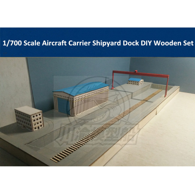 1/700 Scale Aircraft Carrier Shipyard Dockyard Diorama DIY Set Wooden Assembly Model Kit CY703