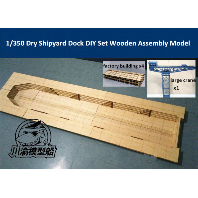 1/350 Scale Dry Shipyard Dock DIY Set Wooden Assembly Model Kit CY706