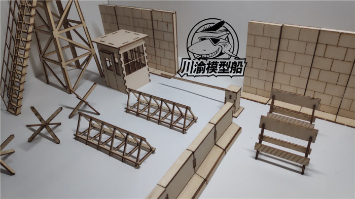 1/35 Scale Berlin Wall Checkpoint Set Tank Scene DIY Wooden Assembly Model CY710