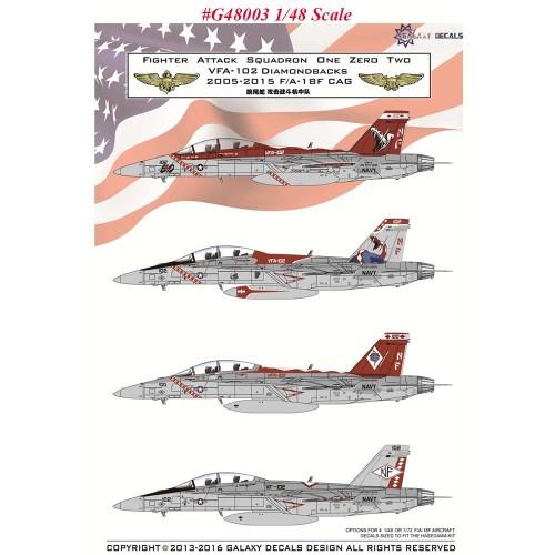 GALAXY G48003 G72003 1/48 1/72 Scale F/A-18F VFA-102 Diamondbacks Decals for Hasegawa Model