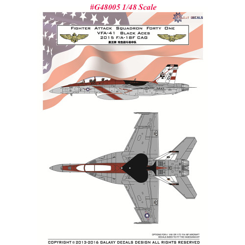 GALAXY G48005 G72006 1/48 1/72 Scale US Navy F/A-18F VFA-41 Black Aces 70 Years Decal for Hasegawa Model