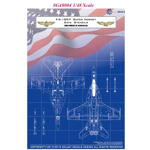 GALAXY G48004 G72004 1/48 1/72 Scale F/A-18E/F Super Hornet Data Stencils Decal for Hasegawa Model